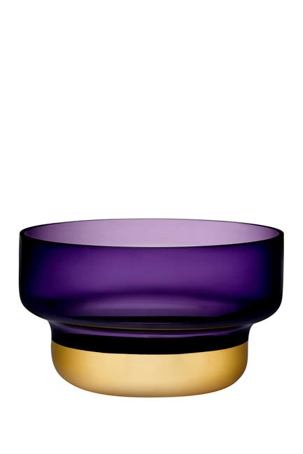 Image of Nude Glass Contour Bowl - Small with Purple Top and Golden Base