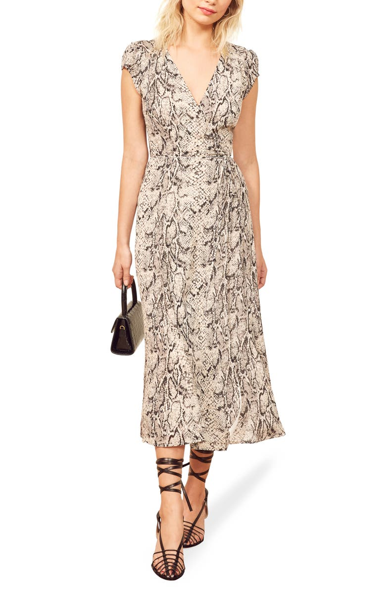 REFORMATION Carina Midi Wrap Dress, Main, color, RATTLESNAKE