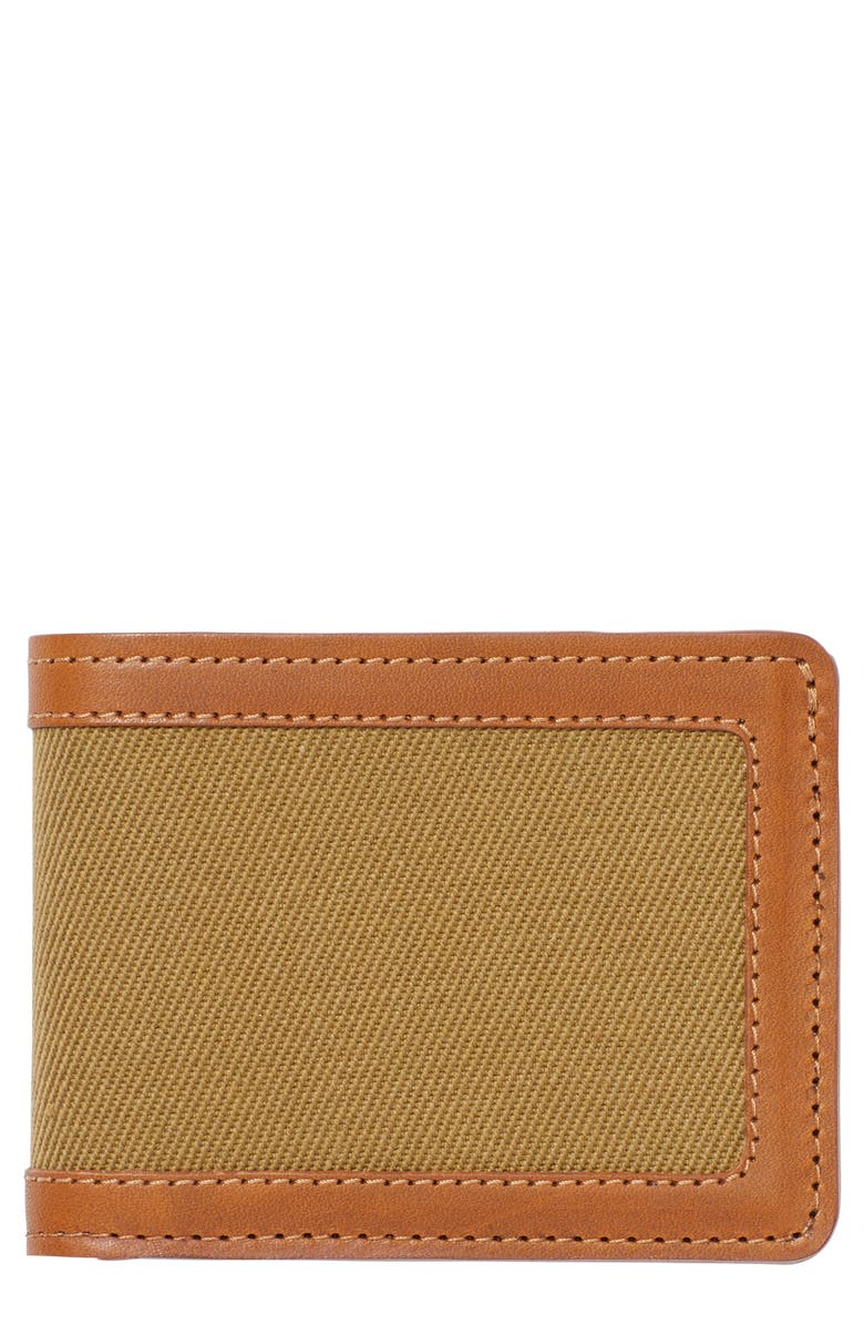 FILSON e Outfitter Leather & Canvas Bifold Wallet, Main, color, TAN