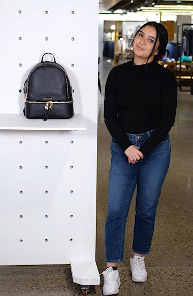 'Extra Small Rhea Zip' Leather Backpack, sales video thumbnail