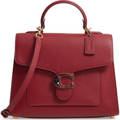 Coach Mixed Leather Top Handle Bag - Red