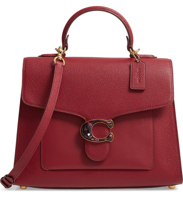 COACH Mixed Leather Top Handle Bag, Main, color, 600