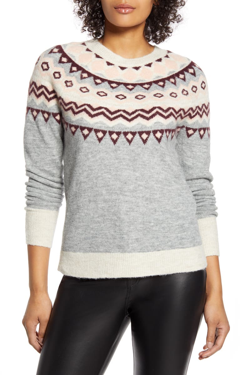 HALOGEN<SUP>®</SUP> x Atlantic-Pacific Fair Isle Sweater, Main, color, GREY- PINK FAIRISLE
