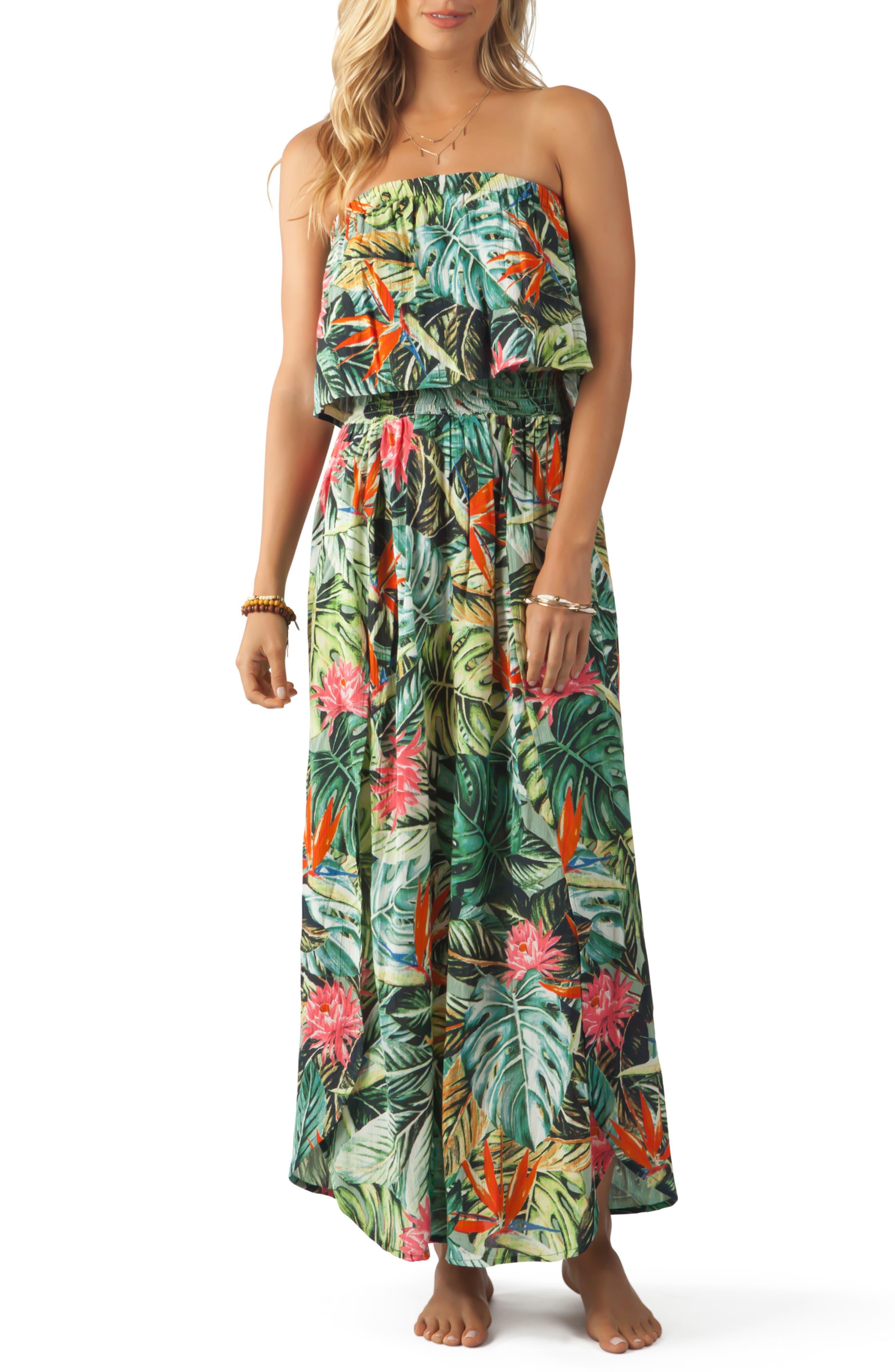 Rip Curl Island Hopper Strapless Maxi Dress, Green