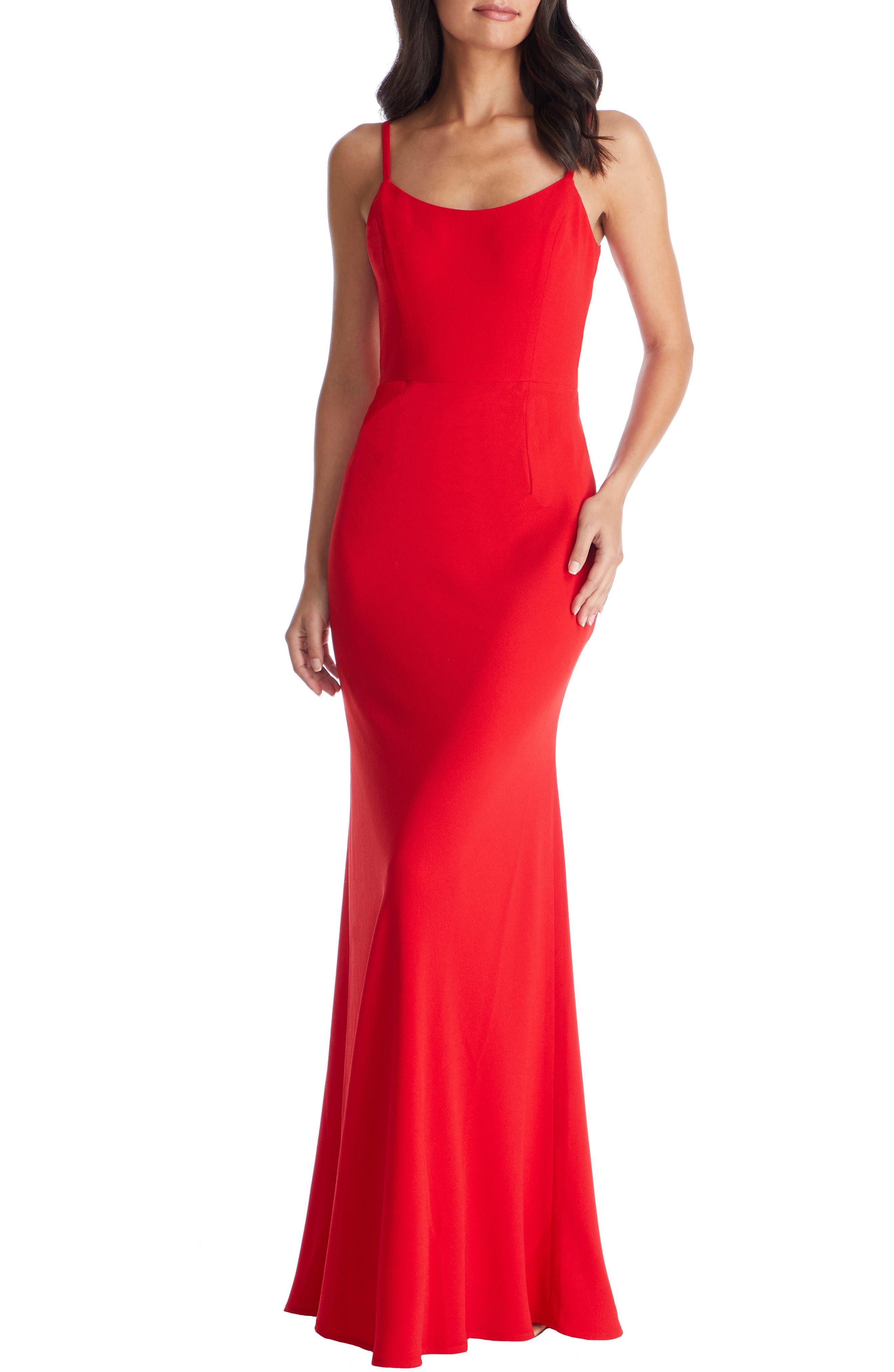 Dress The Population Jodi Crepe Evening Dress, Red