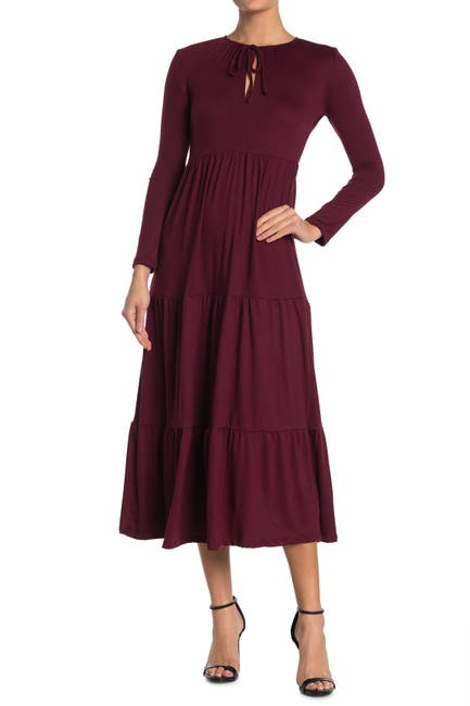 Image of Velvet Torch Long Sleeve Tiered Maxi Dress
