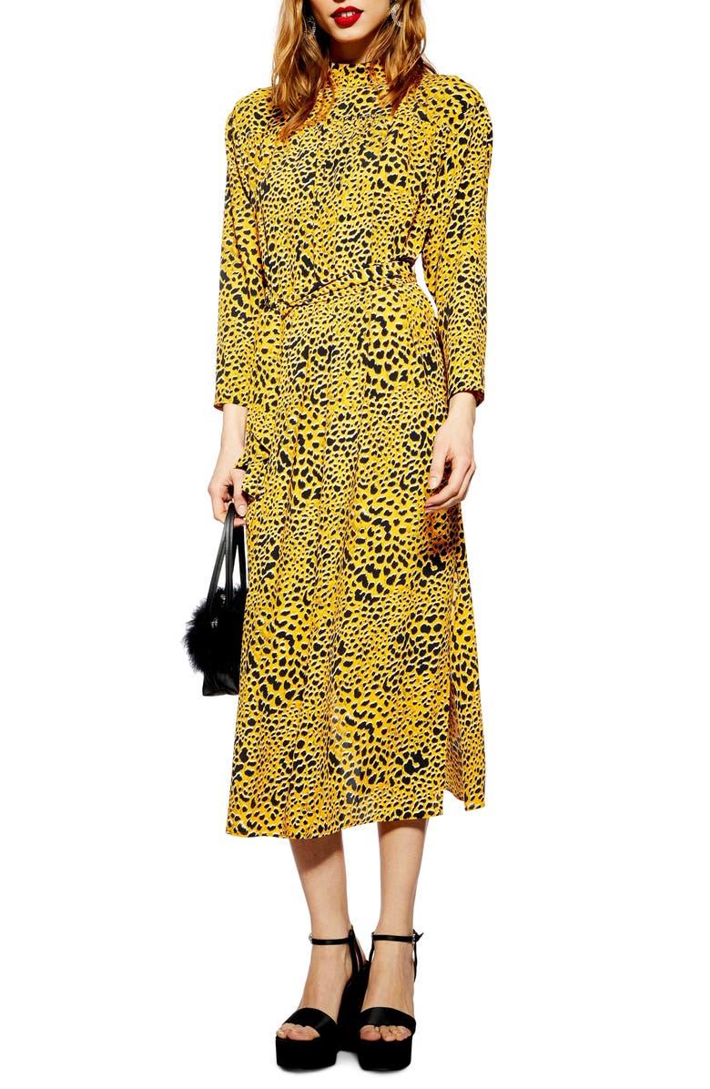 TOPSHOP Abstract Animal Print Midi Dress, Main, color, 700