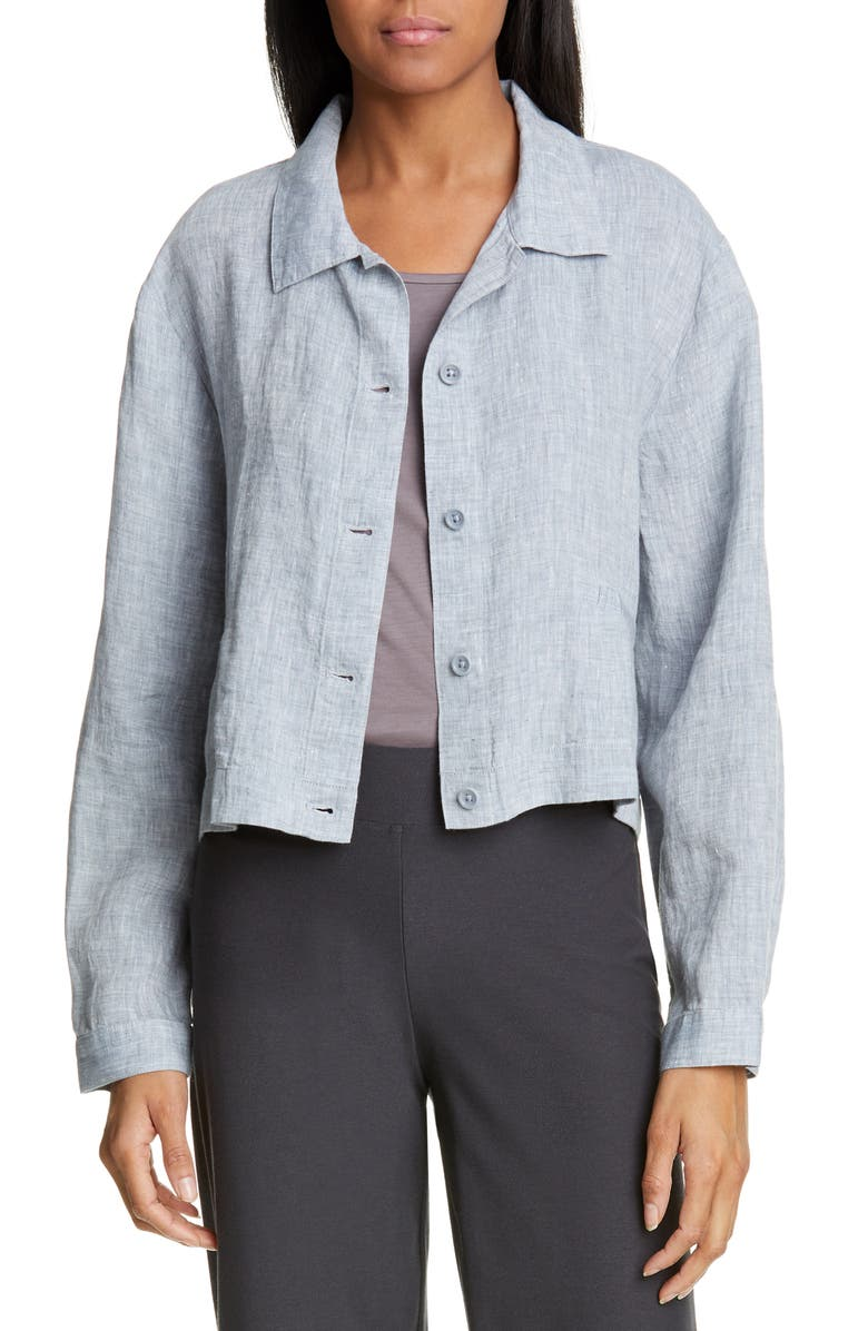 EILEEN FISHER Crop Organic Linen Jacket, Main, color, CHAMBRAY