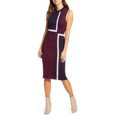 Vince Camuto Geo Jacquard Sweater Dress, Red