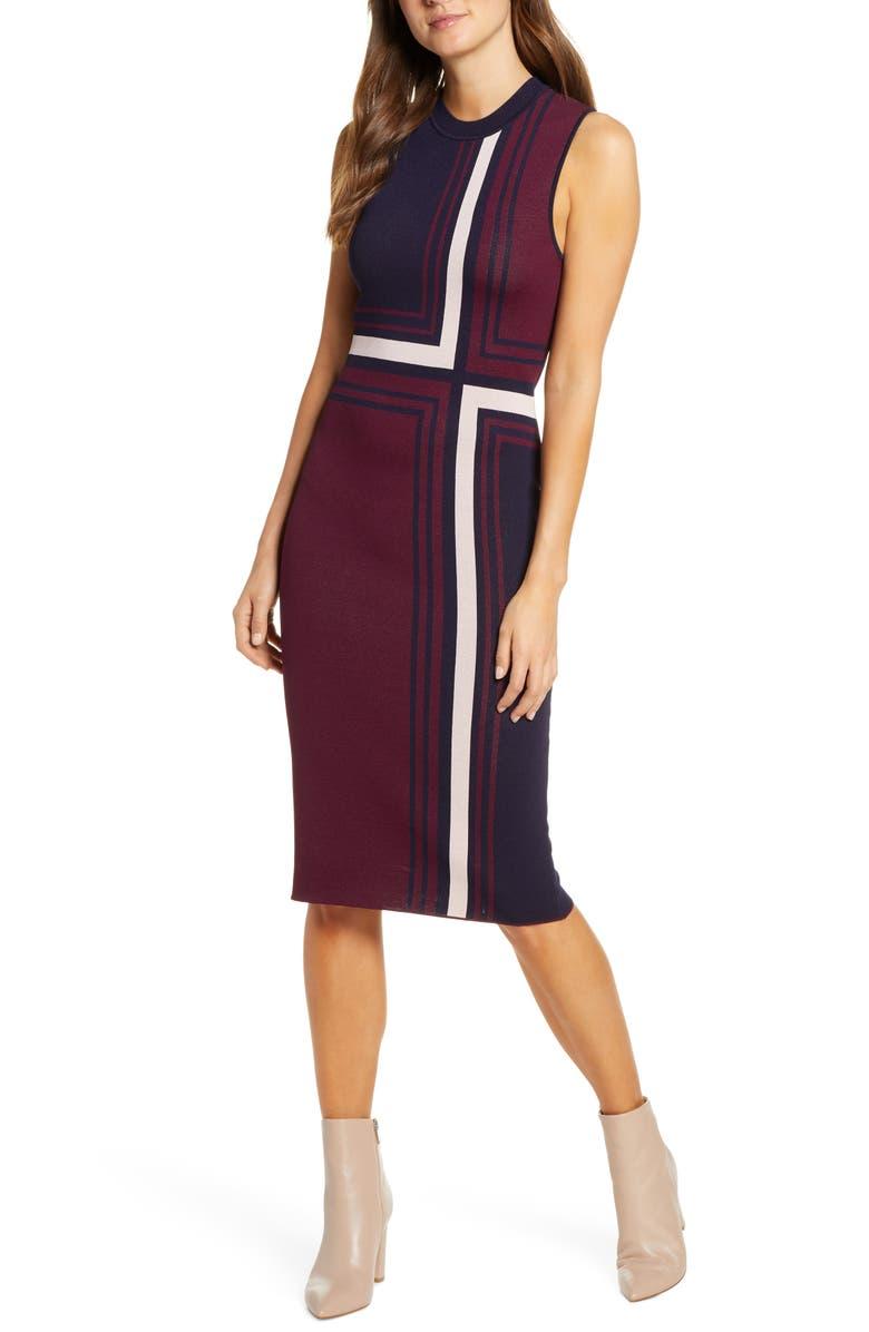 VINCE CAMUTO Geo Jacquard Sweater Dress, Main, color, 605