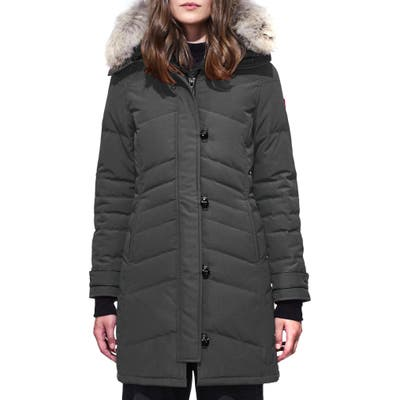 Canada Goose Lorette Fusion Fit Hooded Down Parka With Genuine Coyote Fur Trim, P (2-4P) - Grey