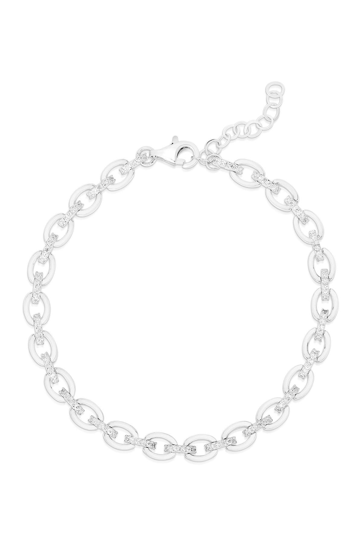 Image of Sphera Milano 14K White Gold Plated Sterling Silver Pave CZ Link Bracelet