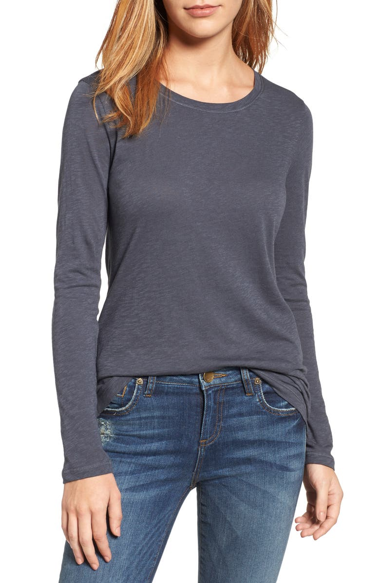 CASLON<SUP>®</SUP> Long Sleeve Crewneck T-Shirt, Main, color, GREY EBONY