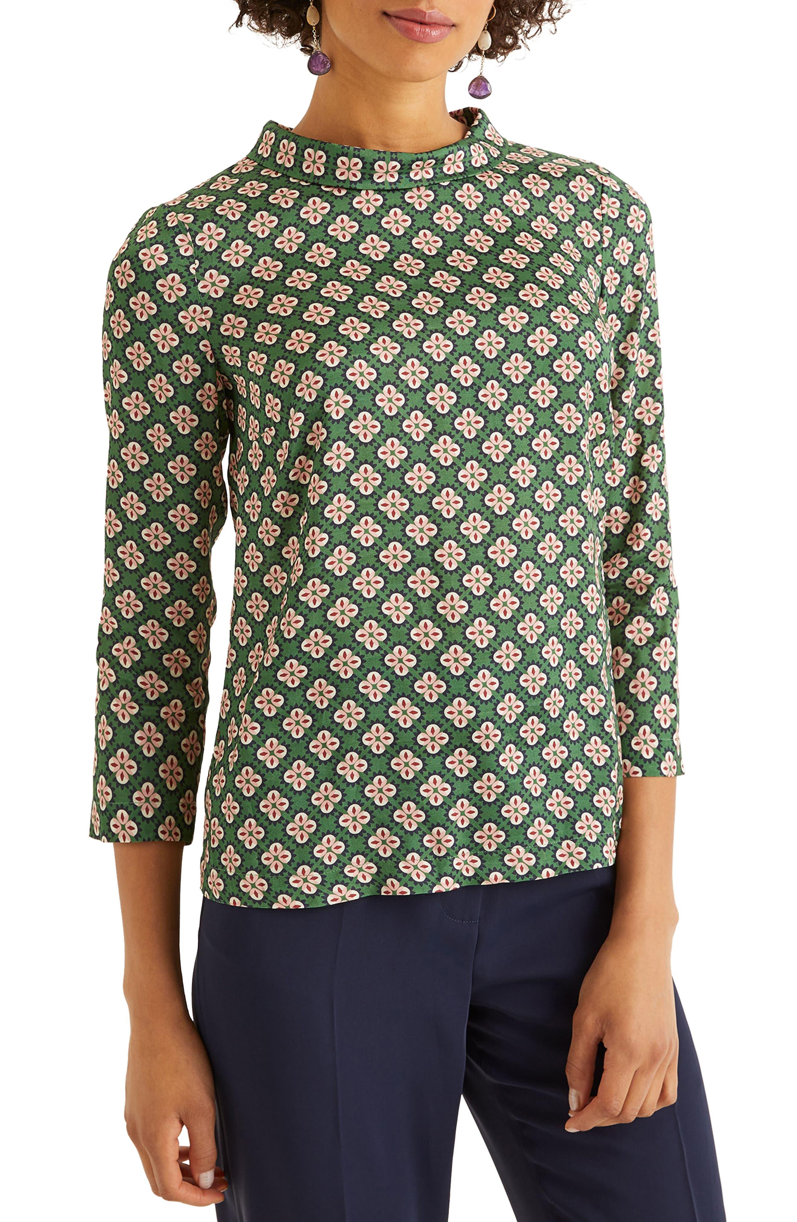 60s Shirts, T-shirt, Blouses, Hippie Shirts Womens Boden Lily Medallion Print Top $90.00 AT vintagedancer.com