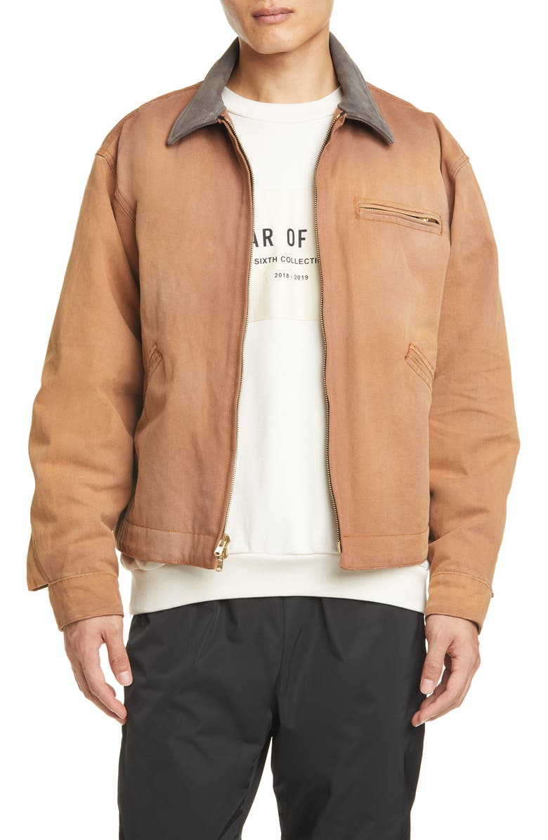 FEAR OF GOD Suede Collar Canvas Work Jacket, Main, color, BRICK/ BROWN
