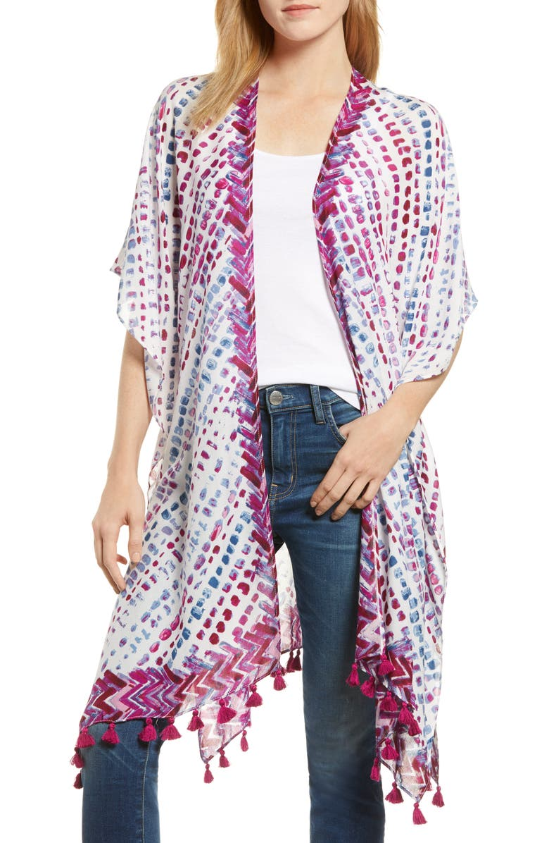 NORDSTROM Print Tassel Duster, Main, color, PINK SUNGLOW DOT