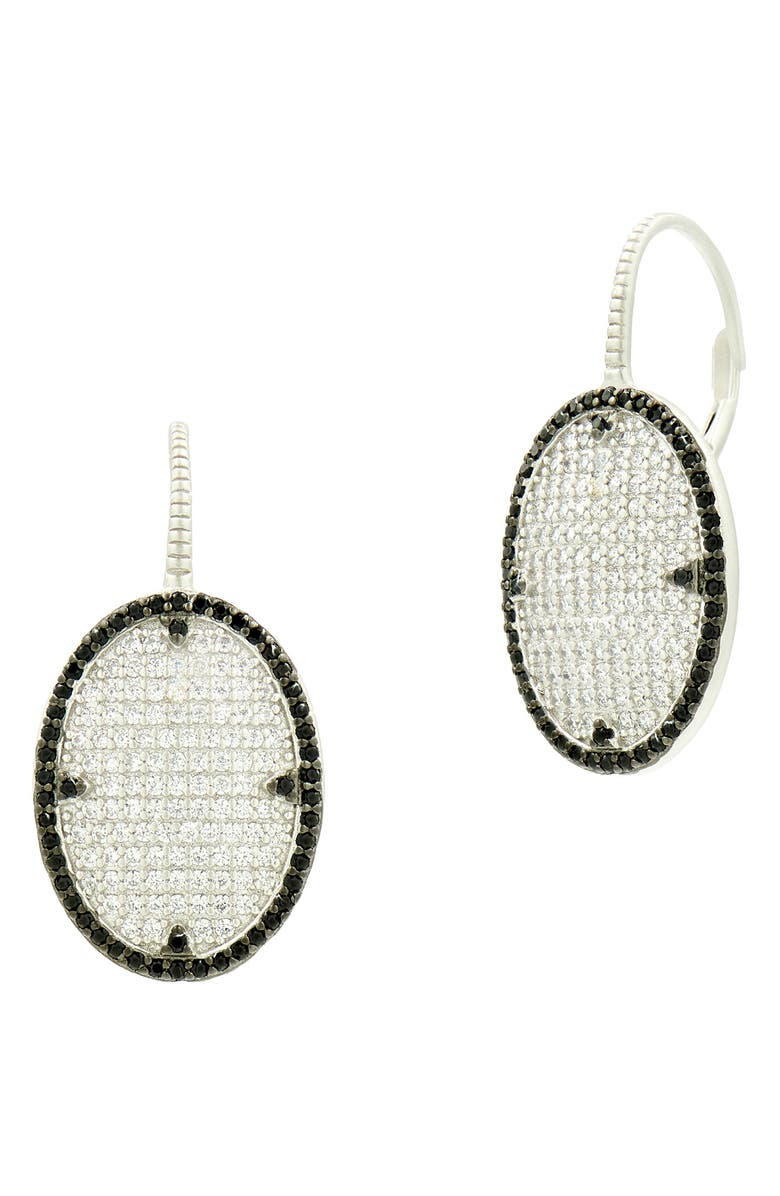 FREIDA ROTHMAN Industrial Finish Pavé Drop Earrings, Main, color, SILVER/ BLACK