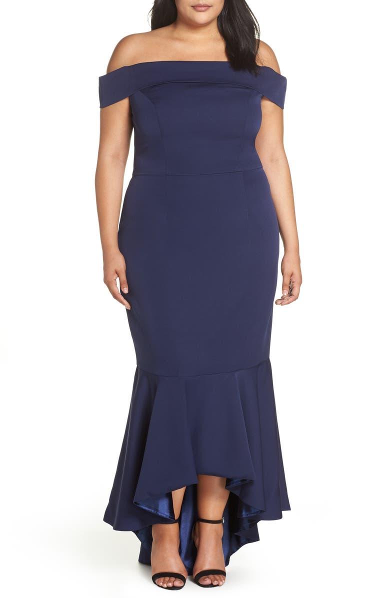 CHI CHI LONDON Off the Shoulder Dress, Main, color, NAVY