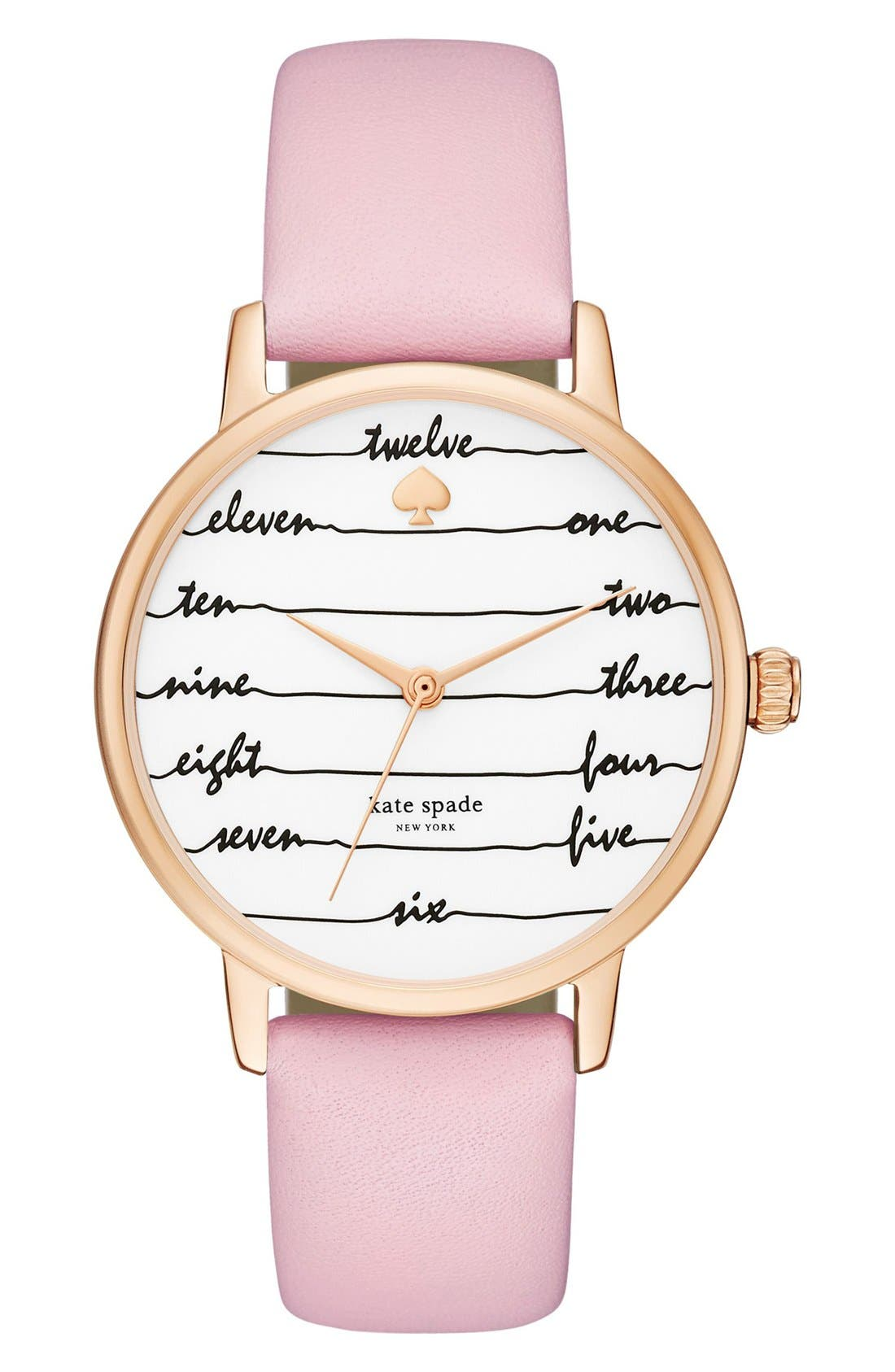 ,                             'metro - chalkboard' leather strap watch, 34mm,                             Main thumbnail 15, color,                             650