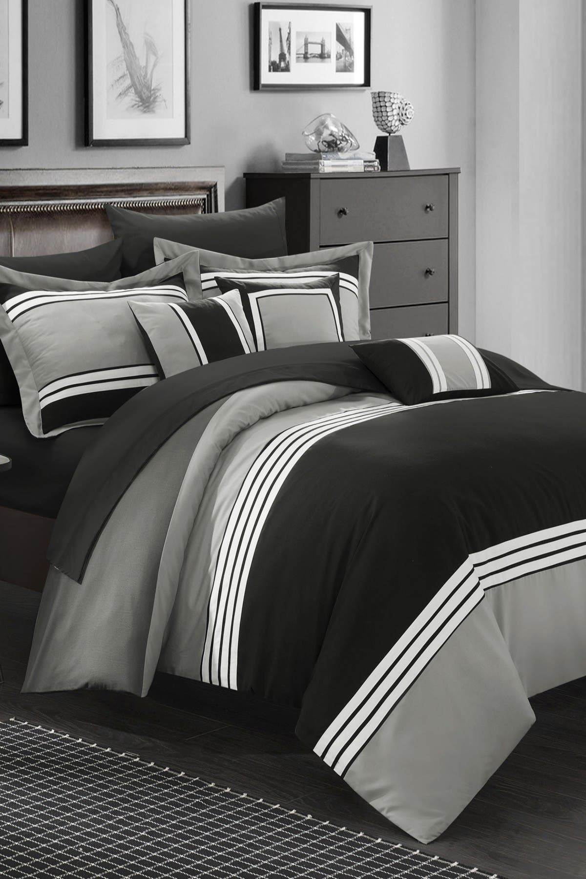 Chic Home Bedding Black Karsa Hotel Collection Bed In A Bag Queen 10 Piece Comforter Set Nordstrom Rack