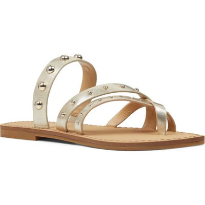 Nine West Clara Studded Toe Loop Sandal- Metallic