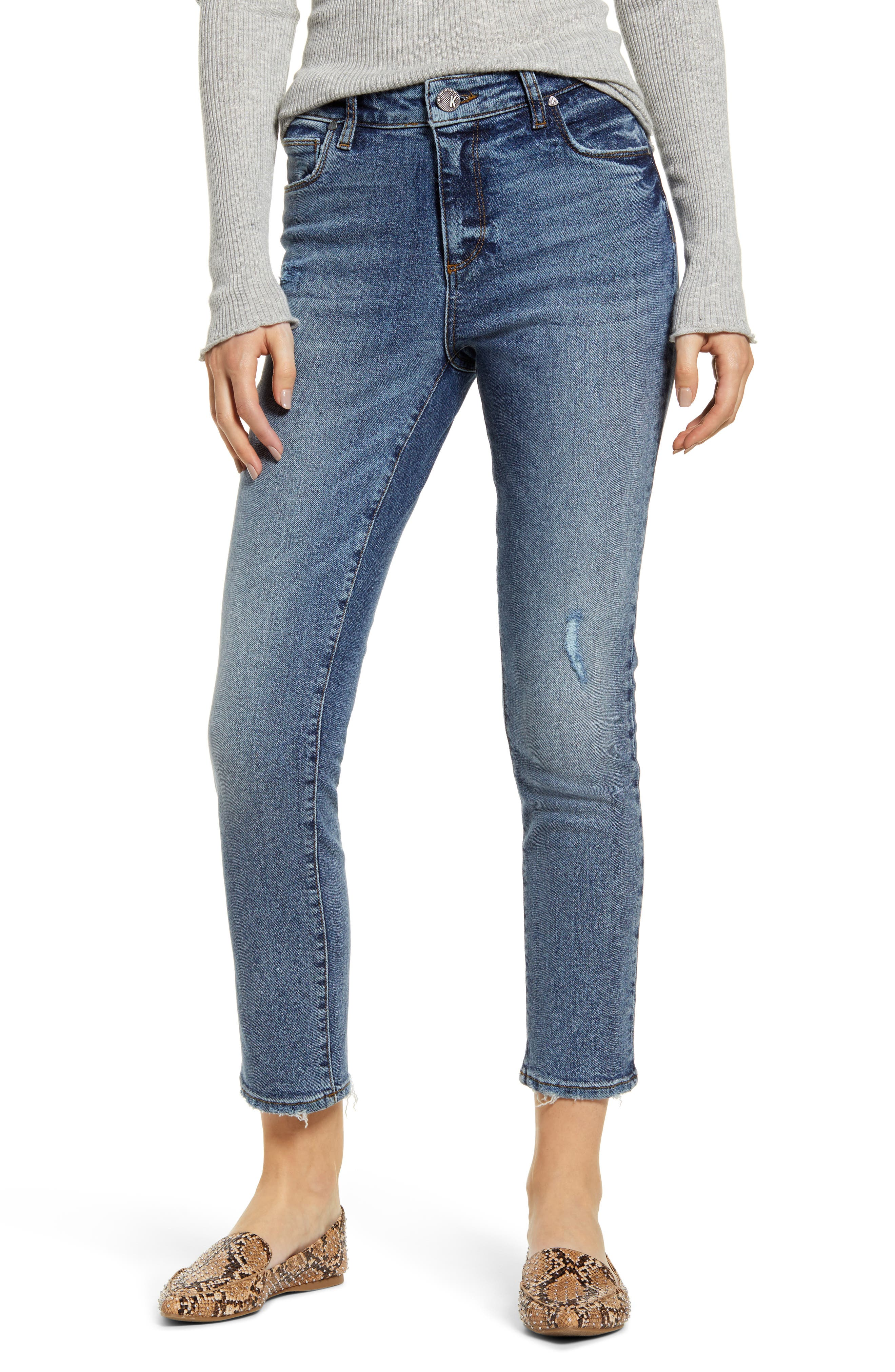 KUT from the Kloth Reese High Waist Ankle Straight Leg Jeans (Mood)