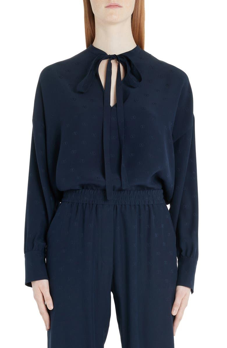 VALENTINO Logo Jacquard Tie Neck Silk Satin Blouse, Main, color, 598-NAVY