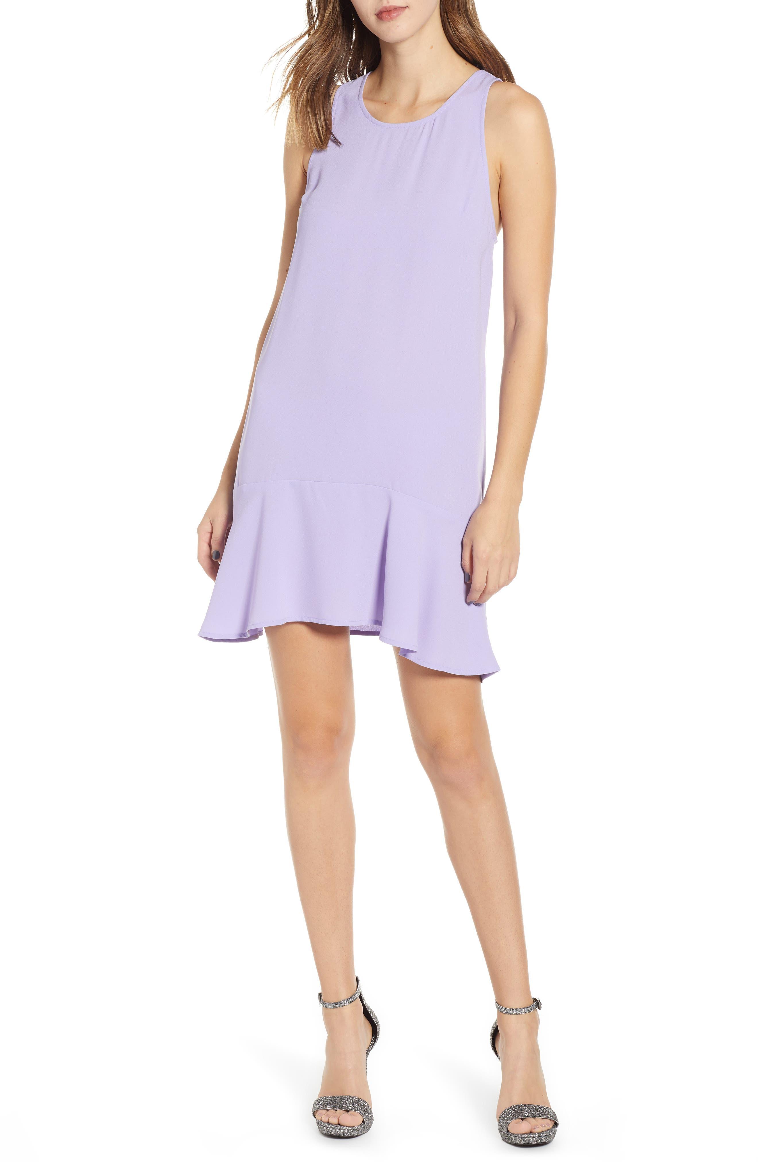 Leith Flounce Hem Dress, Purple
