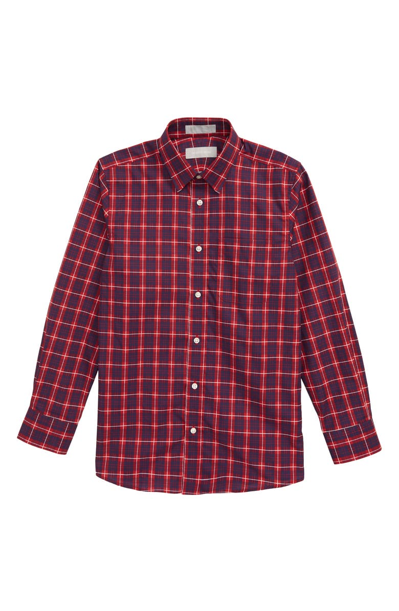NORDSTROM Plaid Button-Up Dress Shirt, Main, color, RED SAGE- NAVY TARTAN
