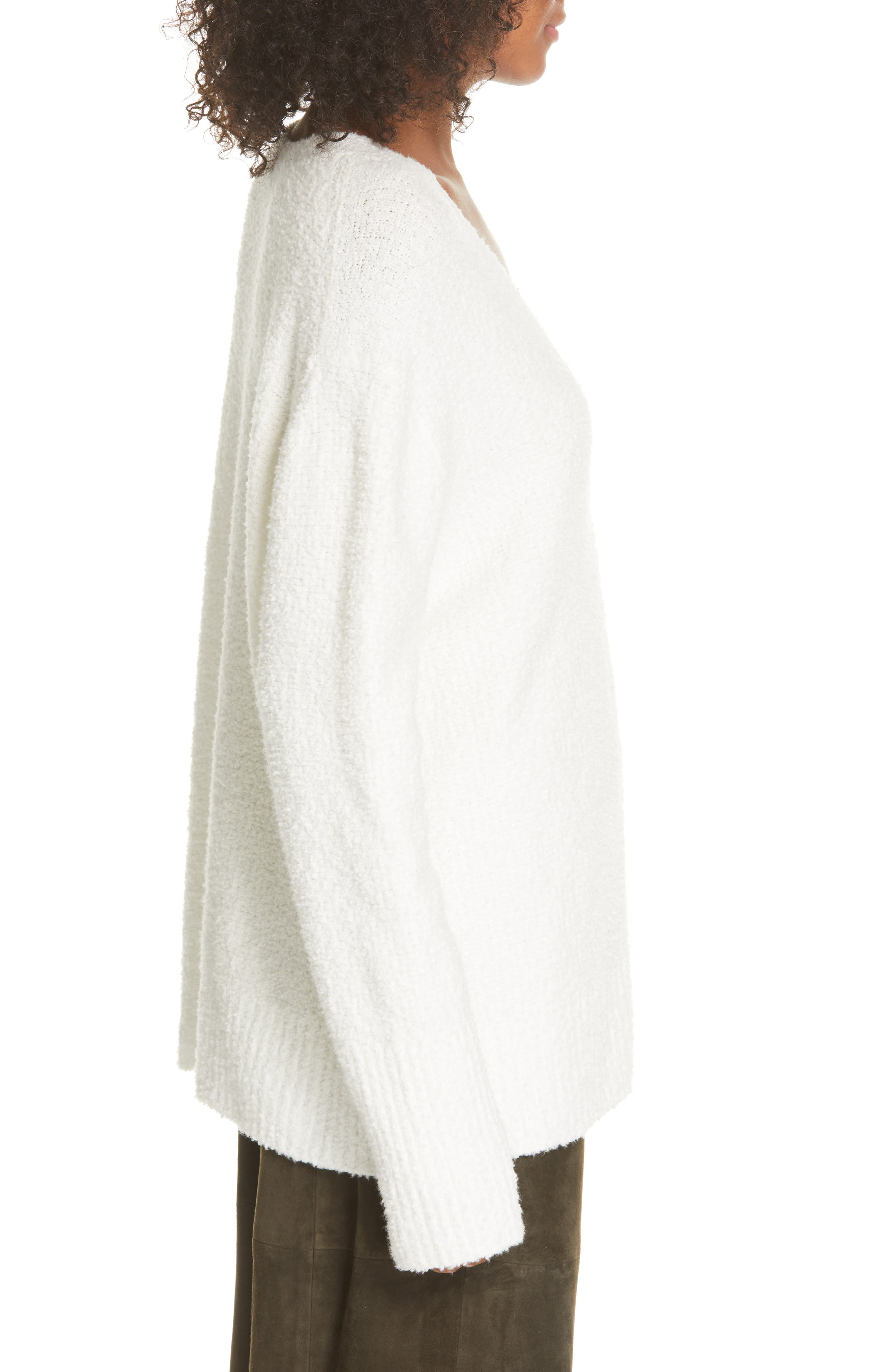 ,                             Textured Tunic Sweater,                             Alternate thumbnail 3, color,                             WHITE