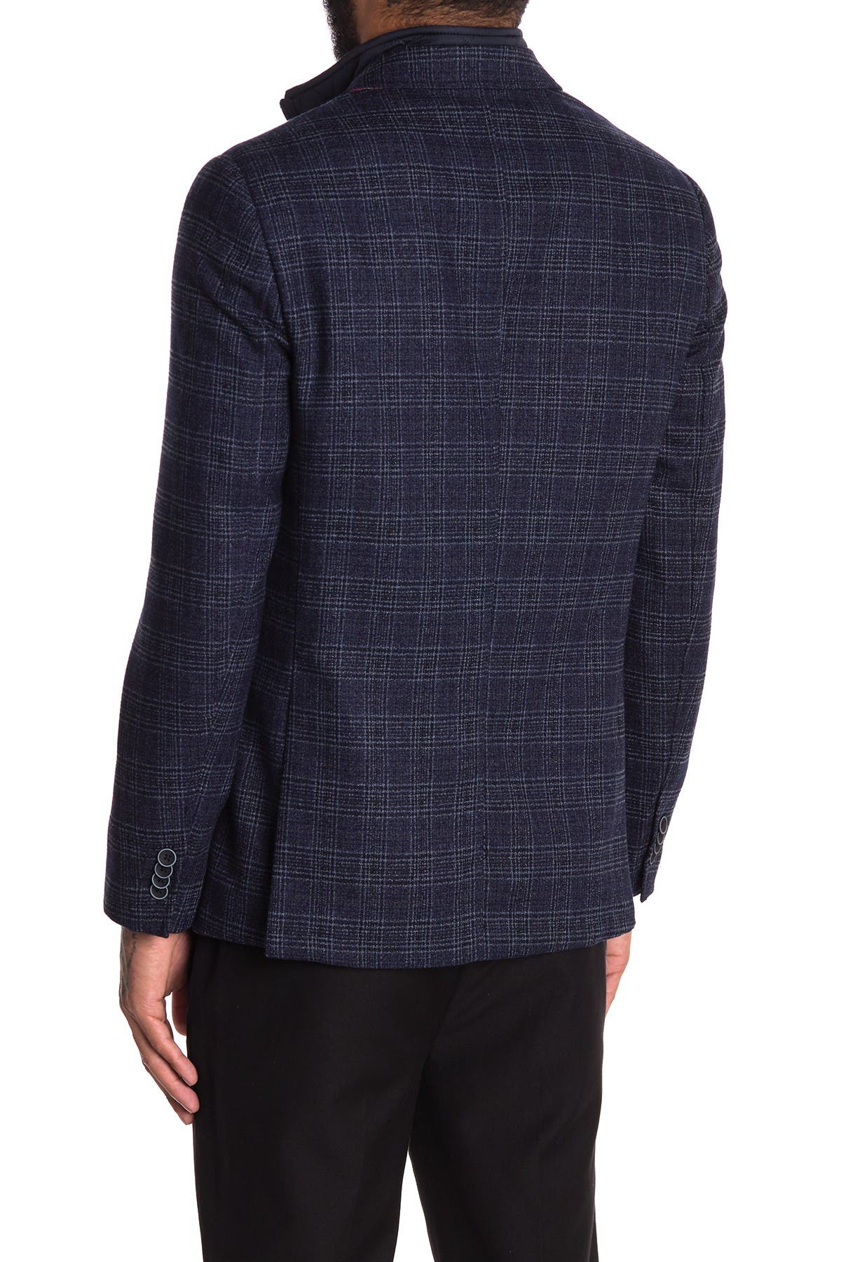 Image of SOUL OF LONDON Navy Plaid Two Button Jacket with Removable Dickey