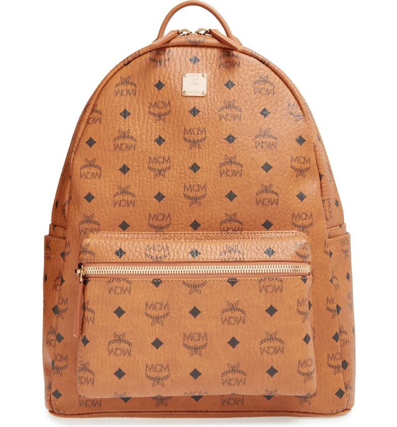 MCM Medium Stark - Visetos Backpack, Main, color, COGNAC