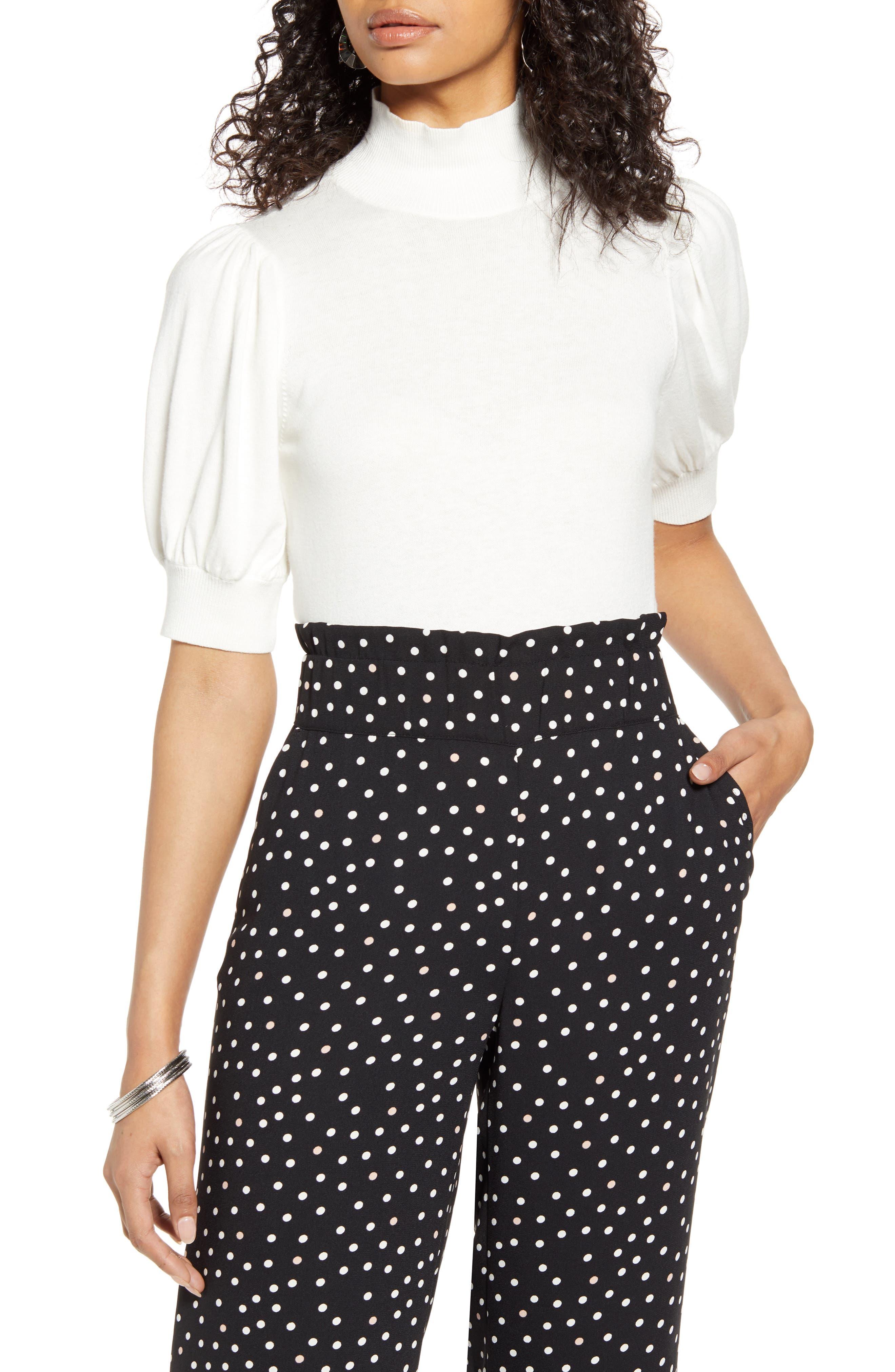 Vintage Tops & Retro Shirts, Halter Tops, Blouses Womens Halogen Mock Neck Puff Shoulder Sweater Size X-Small - Ivory $41.40 AT vintagedancer.com