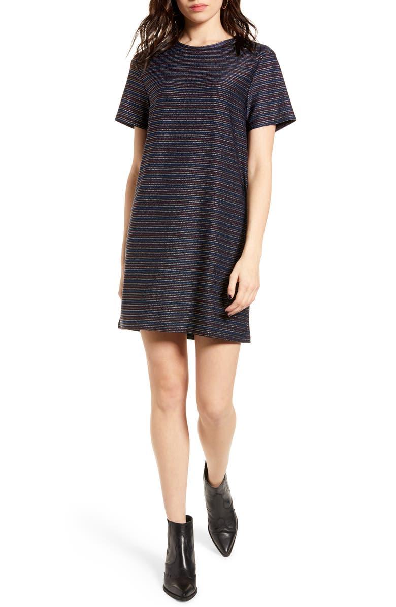 MINKPINK Dream a Dream Metallic T-Shirt Dress, Main, color, 400