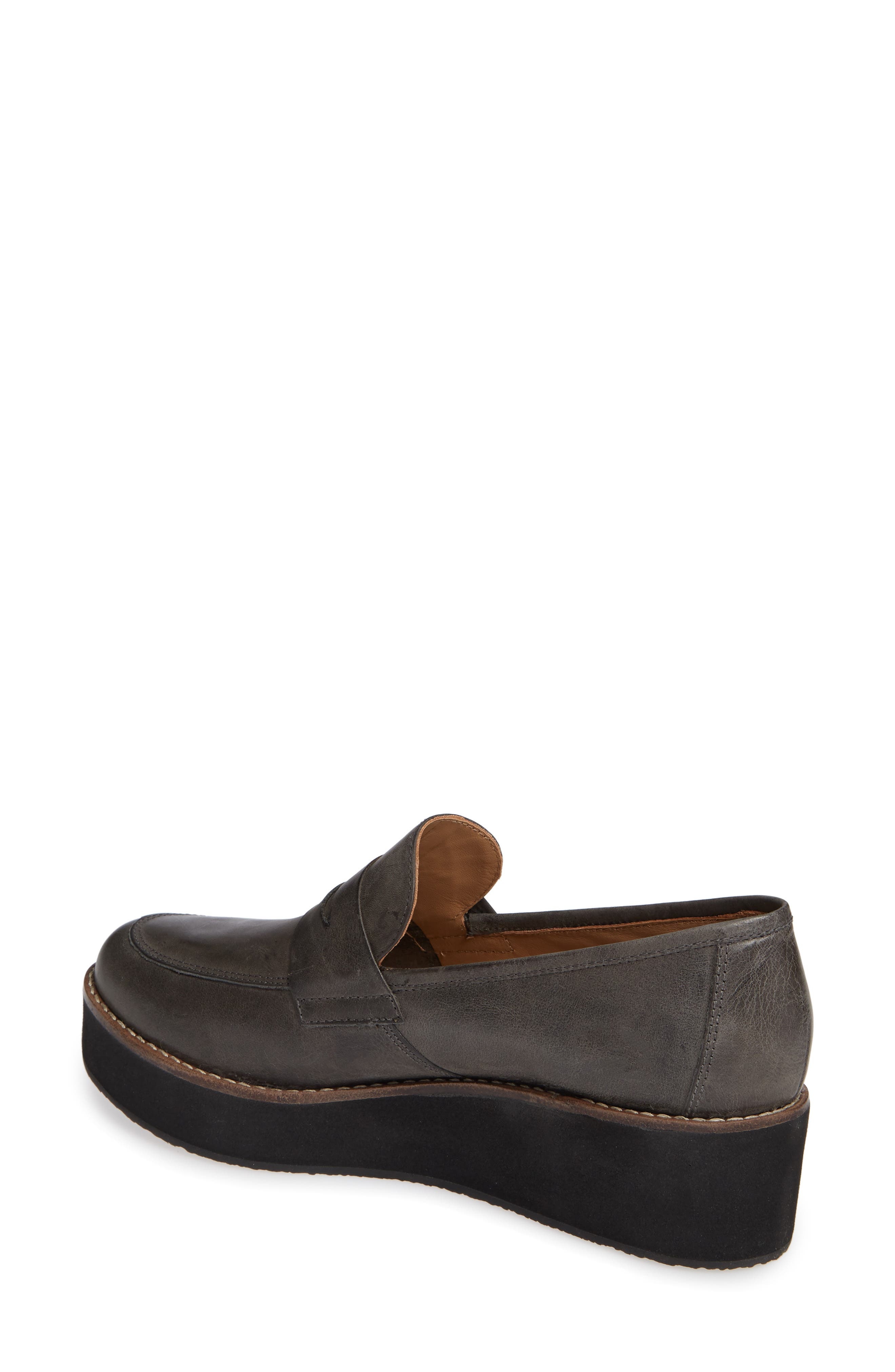 ,                             Santiago Platform Penny Loafer,                             Alternate thumbnail 2, color,                             BLACK LEATHER