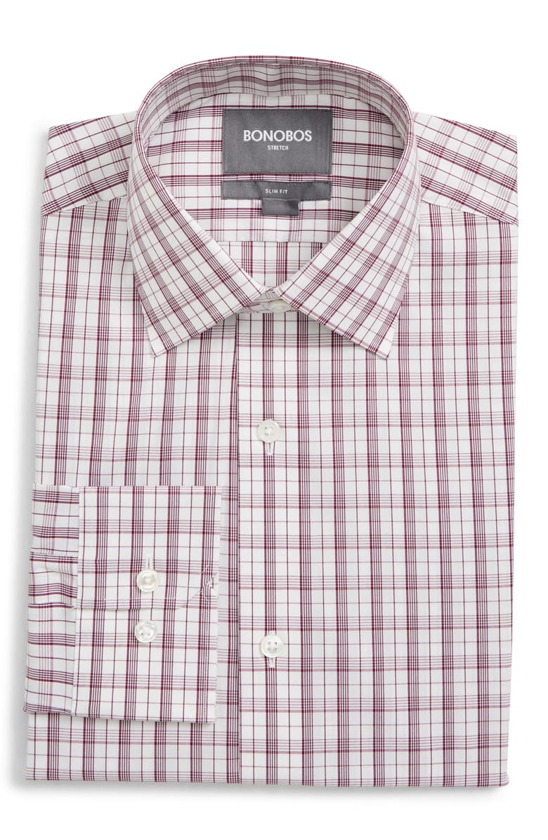 BONOBOS Jetsetter Slim Fit Stretch Plaid Dress Shirt, Main, color, 500