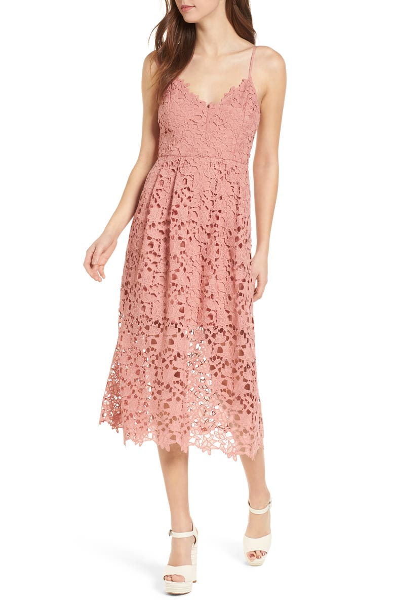 ASTR THE LABEL Lace Midi Dress, Main, color, DARK BLUSH