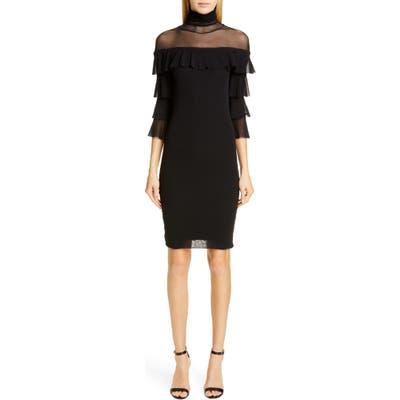 Fuzzi Ruffle Sleeve Body-Con Dress, Black