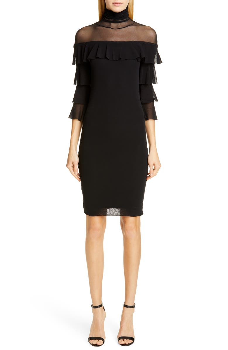 FUZZI Ruffle Sleeve Body-Con Dress, Main, color, NERO