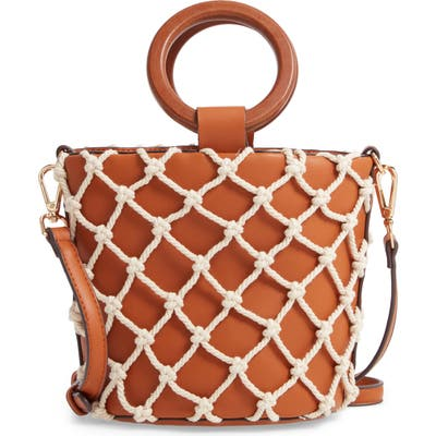 Street Level Knotted Cage Faux Leather Bucket Bag - Brown
