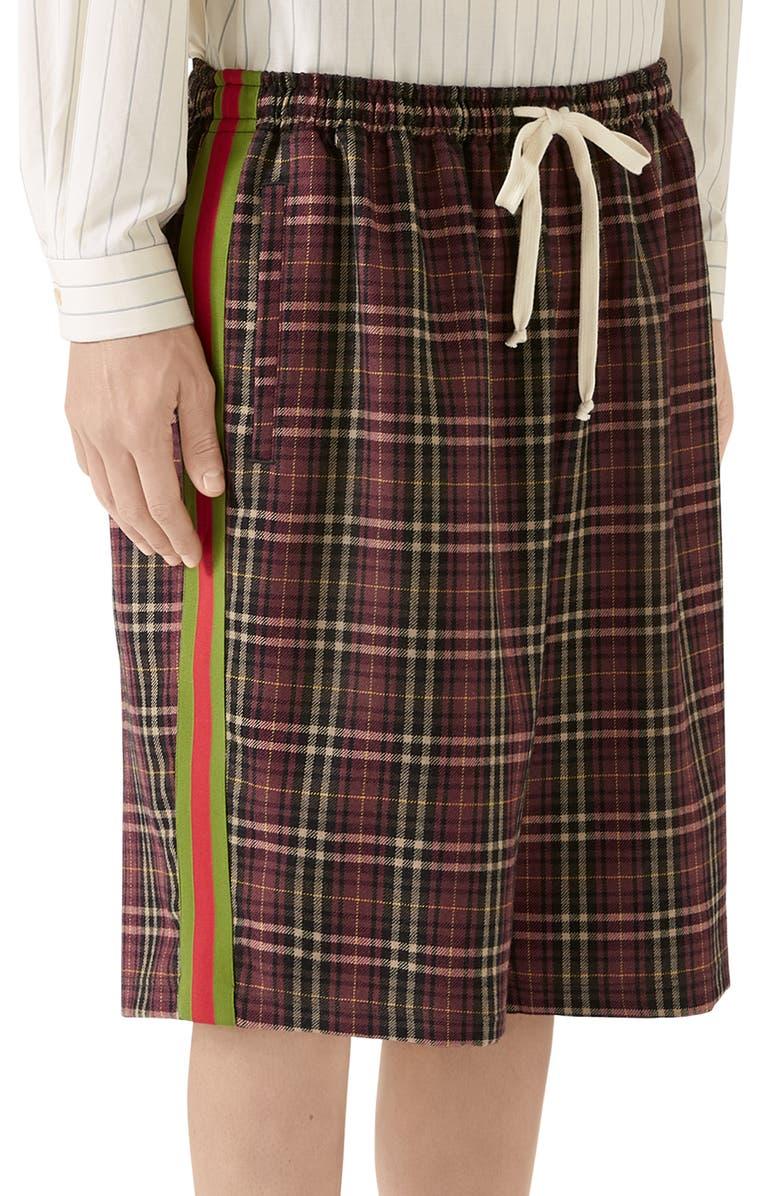 GUCCI Oversize Tartan Cotton Shorts, Main, color, VINEYARD/BLACK