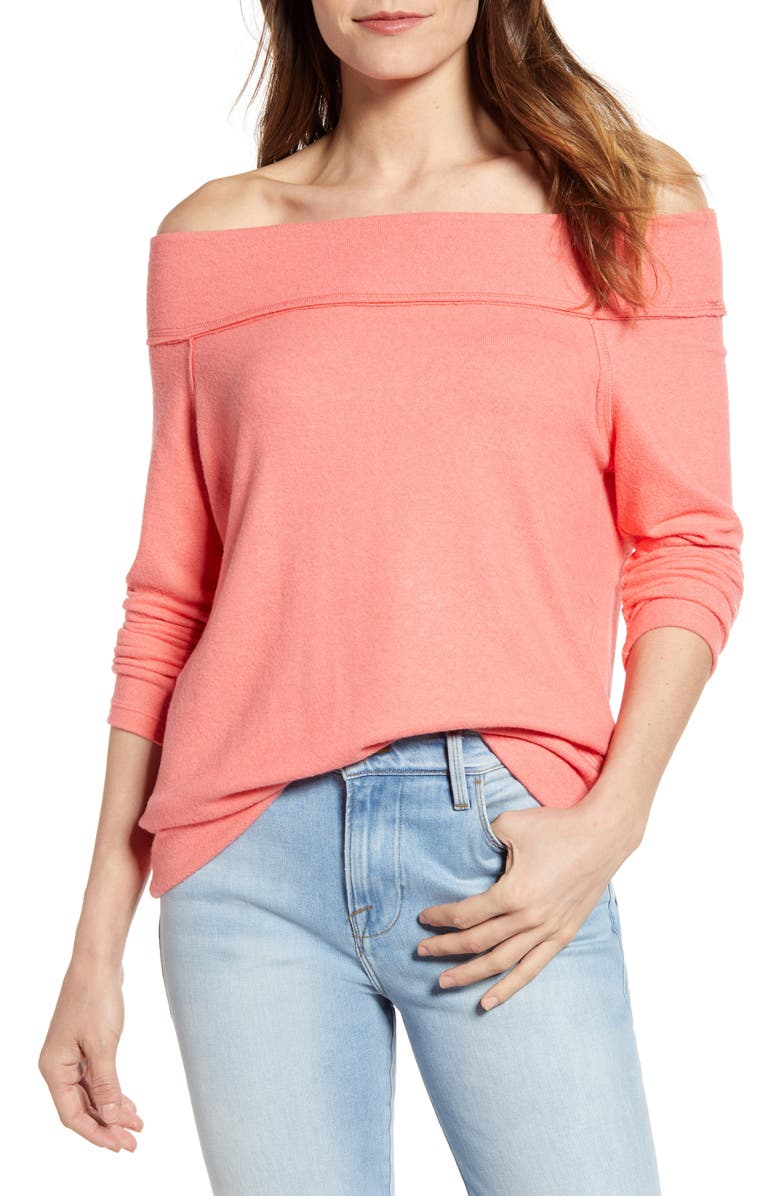 GIBSON x Living in Yellow Mary Fleece Off the Shoulder Top, Main, color, CORAL SUGAR