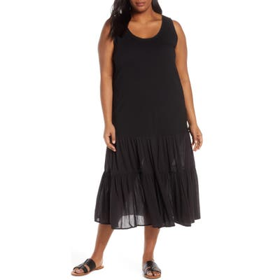 Plus Size Caslon Mix Media Drop Waist Midi Dress, Black