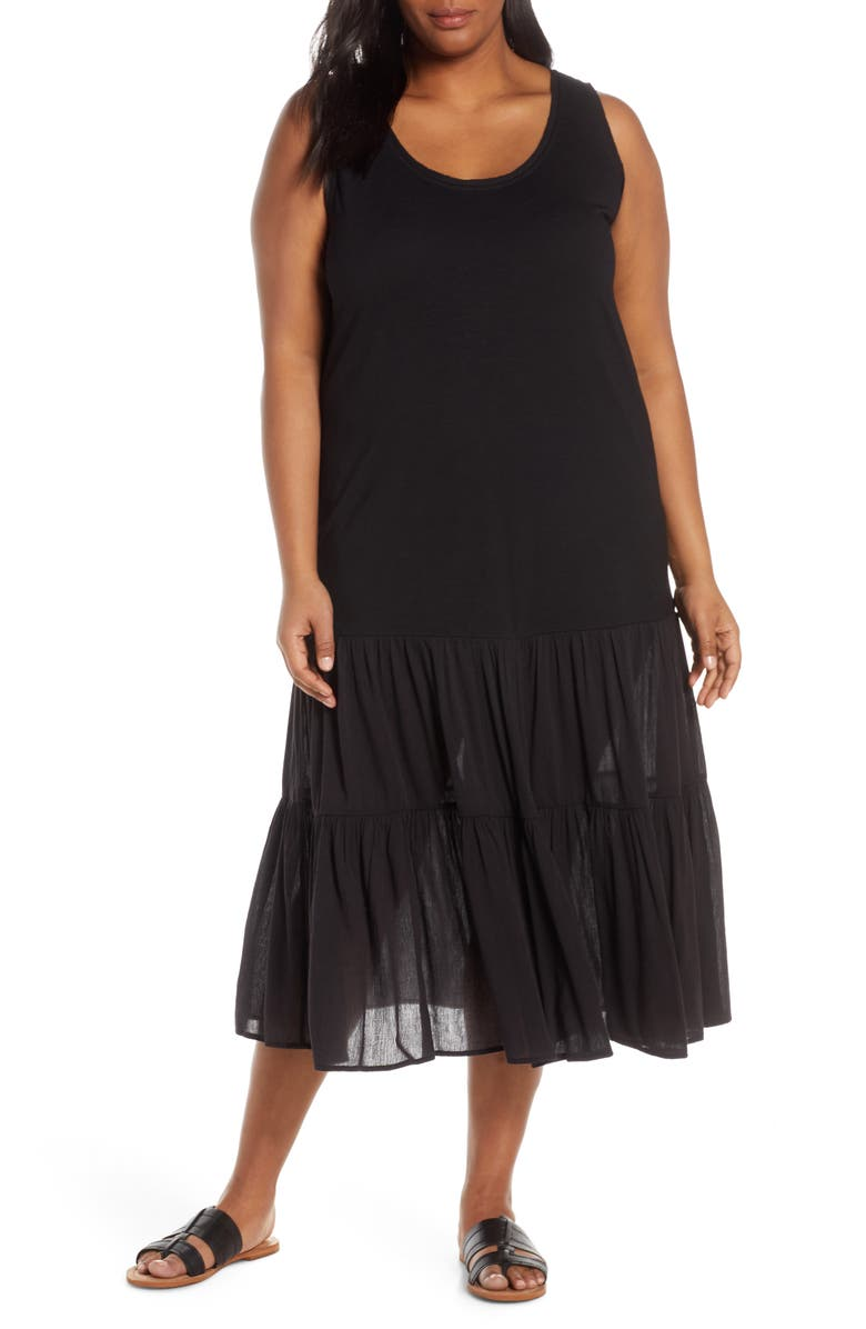 CASLON<SUP>®</SUP> Mix Media Drop Waist Midi Dress, Main, color, BLACK