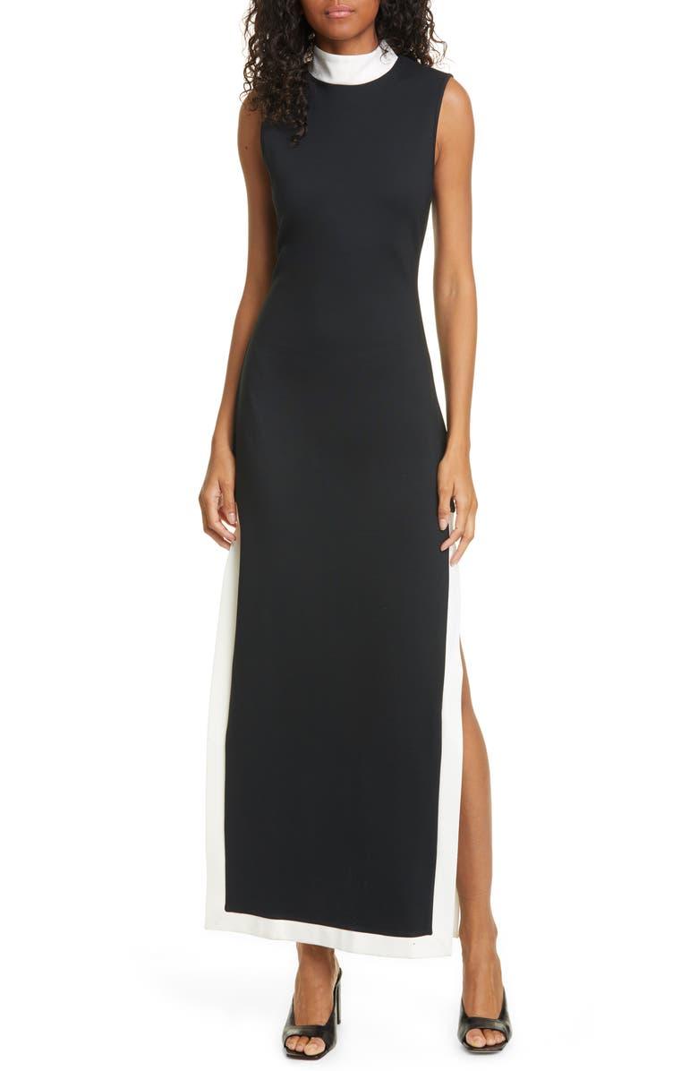 STAUD Noir Contrast Trim Mock Neck Maxi Dress, Main, color, BLACK/ WHITE
