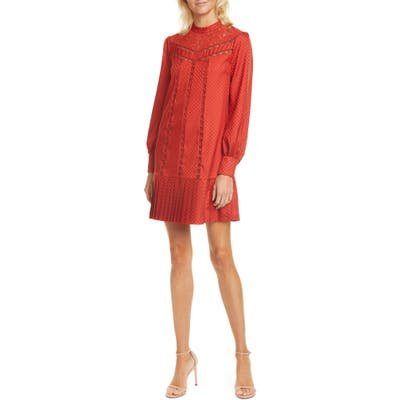 Ted Baker London Lace Inset Long Sleeve Dress, (fits like 12 US) - Orange