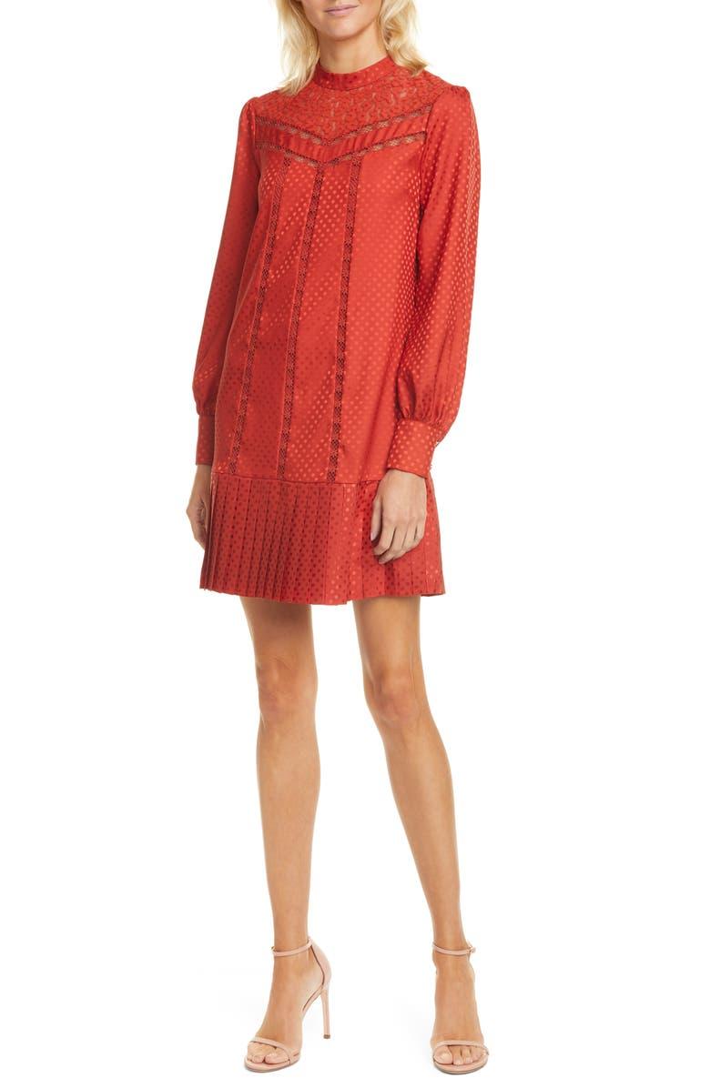 TED BAKER LONDON Lace Inset Long Sleeve Dress, Main, color, DK-ORANGE