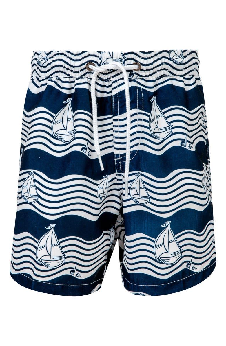 SNAPPER ROCK Ocean Explorer Swim Trunks, Main, color, WHITE/ NAVY