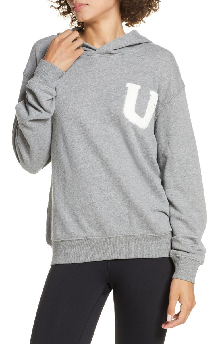 UGG<SUP>®</SUP> Fuzzy Logo Pullover Hoodie Sweatshirt, Main, color, 020