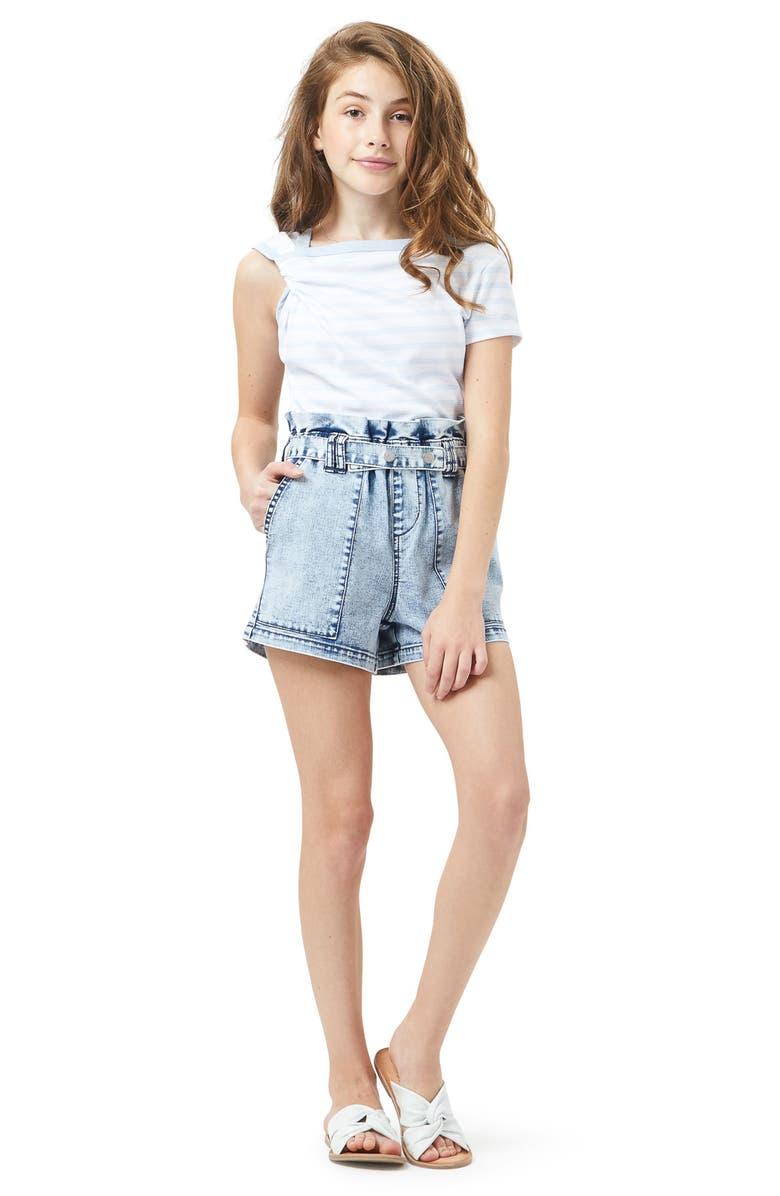 HABITUAL GIRL Paperbag Waist Denim Shorts, Main, color, LT STONE